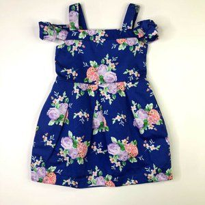 Janie and Jack Girls Royal Blue Floral Dress 4